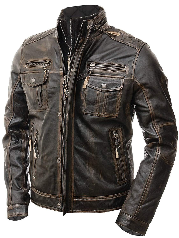 Mens Biker Vintage Motorcycle Distress Brown Lambskin Cafe Racer Leather Jacket