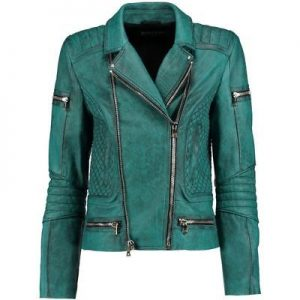 Women's Slim Fit Diamond Quilted Teal Moto Distress Leather Jacket