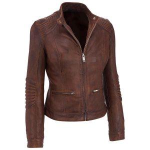 Women's Café Racer Distressed Brown Slim fit Motorcycle Genuine Leather Biker Jacket