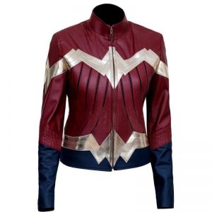 WomenStylish Cosplay Wonder Woman Leather Jacket