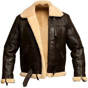 Men RAF Aviator Bomber Real Shearling Sheepskin Leather Jacket