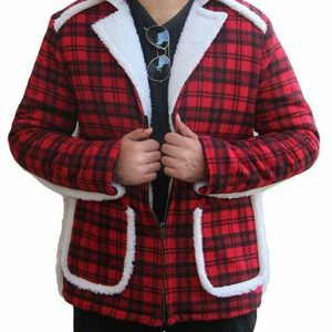 Ryan Reynolds Deadpool Red Cotton Flannel Faux Shearling Trench Coat Jacket