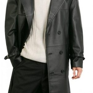 Augusta Double Breasted Black Lambskin Trench Leather Overcoat