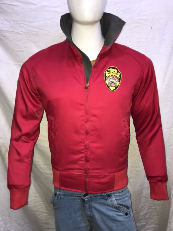 BAYWATCH Bomber Jacket David Hasselhoff Lifeguard Red Jacket