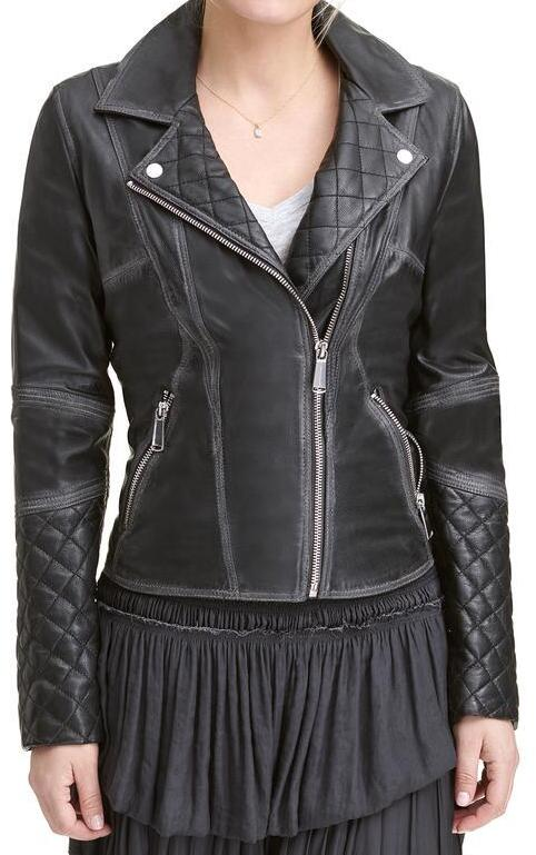 Women's Quilted Diamond Black Moto Leather Jacket