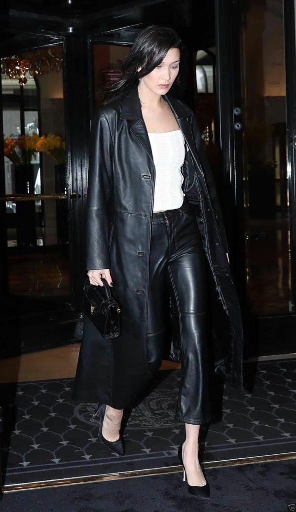 Women's Slim Genuine Lambskin Stylish Black Trench Coat