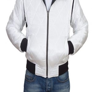Drive Scorpion White Satin Bomber Jacket