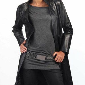 Women'sBlack Leather Trench Coat Genuine Lambskin Biker Motorcycle Jacket