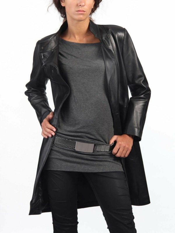 Women's Black Leather Trench Coat Genuine Lambskin Biker Motorcycle Jacket