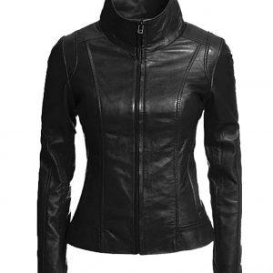 Women's Slim Fit Moto Biker Black Leather Jacket