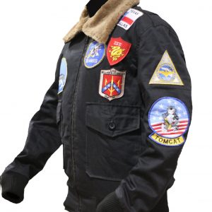 Tom Cruise Top Gun Black Bomber Cotton Jacket