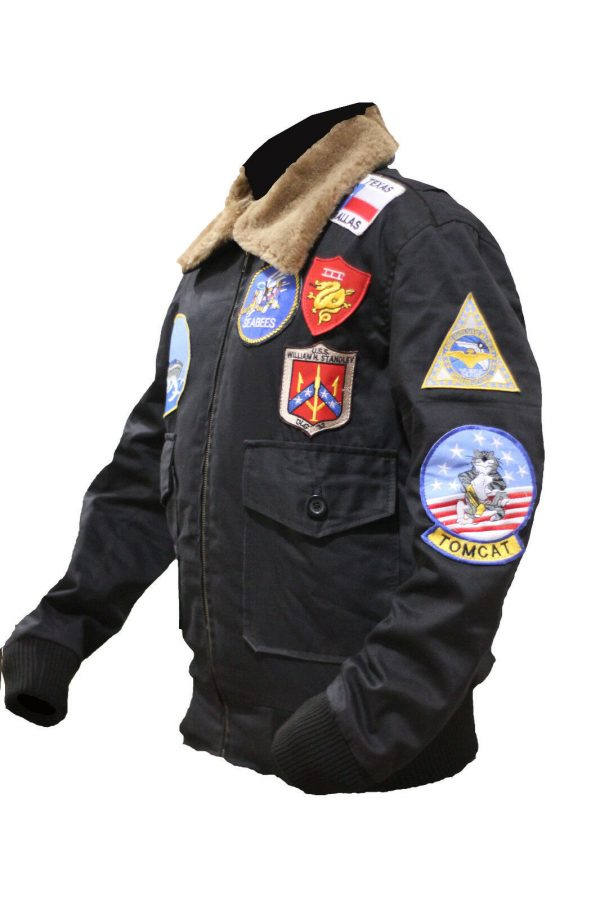 Tom Cruise Top Gun Black Bomber Cotton Jacket