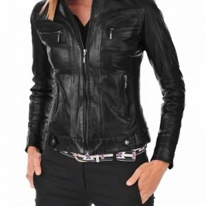 Women's Leather Jacket Genuine Soft Lambskin Real Biker Motorcycle Slim Fit Coat