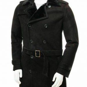 MEN'S BRAND NEW WARM BLACK SHEEPSKIN SHEARLING FUR TRENCH COAT