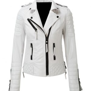 Women's Slim Fit Biker Diamond Quilted Kay Michaels White Leather Jacket