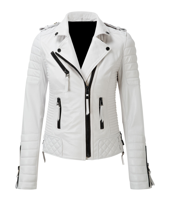 Leather Jacket Women S White Size Womens Moto Motorcycle Biker Coat Slim Fit 11