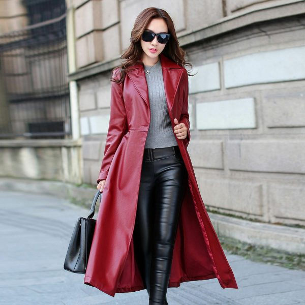 Women's Leather Trench Coat Genuine Soft Lambskin Winter Long Overcoat Jacket LC
