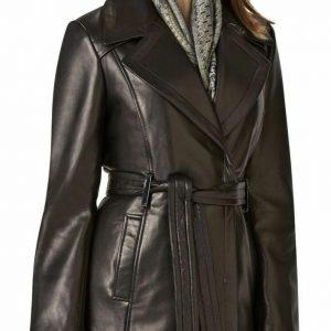 Women's New Genuine Leather Pure Soft Lambskin Long Overcoat Trench Coat Jacket