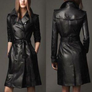 New Women's Genuine Leather Pure Soft Lambskin Long Overcoat Trench Coat Jacket